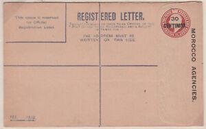 1906 KEVII 3d reg postal stationery env MOROCCO AGENCIES 30 CENTIMOS overprint