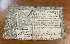 COLONIAL CURRENCY NOTE $8 March 1, 1770 MARYLAND