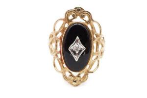 Vintage 10k Yellow Gold Black Onyx And Diamond Filigree Ring Size 7 Ladies