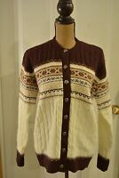 Women's 40 Cream/Brown Jersild 100% Wintuk Button Front Sweater