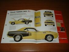 ★★1971 PLYMOUTH CUDA 383 ORIGINAL IMP BROCHURE SPECS INFO 71 70 YELLOW BLACK★★