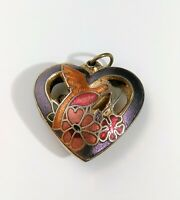 Vintage Cloisonne Purple Open Heart Necklace Charm Pendant Coral Pink Flowers