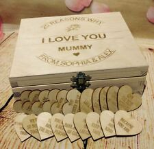 Birthday Present Reasons Why I love You Personalised Wooden Hearts Cuts Tags