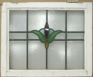 """OLD ENGLISH LEADED STAINED GLASS WINDOW Lovely Floral Design 25"""" x 20.25"""""""