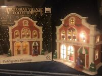 Victorian Village Collectibles Lighted Christmas Village Paddington's Pharmacy