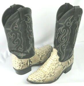 Men's Dan Post Omaha Natural Python / Leather Western Boots DPP3036 sz. 9 1/2 D