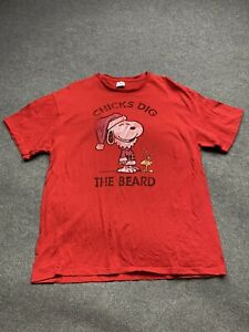 Snoopy Shirt Mens Extra Large Peanuts Charlie Brown Chick Dig Beard Adult Tee