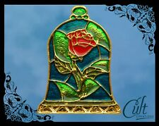 Beauty and the Beast metal and enamel stained  Rose in Bell Jar Pin badge