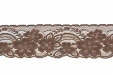 """Clearance! 2½"""" Wide, Dark Brown Floral Flat Lace Trim - 50 Metres"""