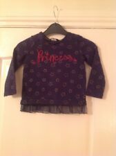 GIRLS NAVY /GOLD STAR & PRINCESS LOGO LONG SLEEVED T-SHIRT GEORGE AGE 3-4 YEARS