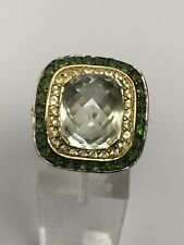 Designs by Sevan 7ct Green Quartz and Gemstone 14K Yellow Gold Ring Size 7.5