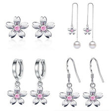 2018 Fashion 925 Sterling Silver Pink Sakura Crystal Stud Dangle Earrings Gifts