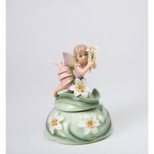 "NEW PORCELAIN FAIRY WITH DAFFODIL,GREEN,WHITE ""WOLLY OF THE FLOWERS"" MUSIC BOX"