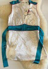 NWT Penguin Women Blouse Sz.2 Silk Satin White Oriental Style Stretchy Side Zip