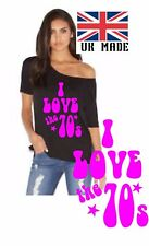 I Love the 1970s  Slash Neck  off the shoulder t shirt  Sizes xs to 5x hen party