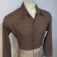 Vtg 60s 70s SEARS Kings Road Dress Shirt Polka Dot Polyester Disco Mod Mens XL