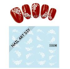 BUY 3 Get 1 FREE-Stickers Decal Water Transfer-Adesivi Per Unghie-Fiori Bianchi