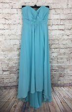 David's Bridal Aqua Blue High Low Strapless Chiffon Bridesmaid Dress Size 2