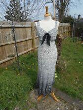 Nice for ASCOT by Gold Size 14 100% Silk Midi Monochrome Dress Cruises Wedding