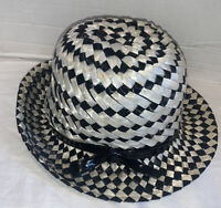 Vintage 1960's Mod Hat Black Straw White Retro Mr. John Classic New York Paris