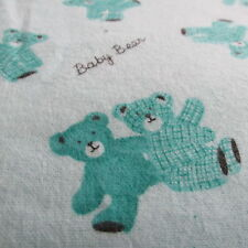 Vintage flannel baby juvenile novelty fabric Teddy Bear Teal green half yard 1/2