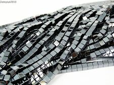 Natural Hematite Gemstone Square Cube Silver Gold Multi-color Beads 16'' Healing