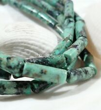 African Turquoise Tube Pipe Natural Gem Stone Bead Strand  13 x 4 MM 16""