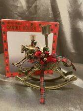 Holiday Theme Solid Brass Candle Holder, Rocking Horse with Holly, Cones Nib
