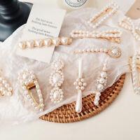 Fashion Crystal Pearl Hair Clips Stick Barrette Hairpin Women's Hair Accessories