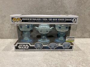 Anakin Yoda Obi-Wan Kenobi Glow In The Dark Star Wars Pop Funko 3 Pack Exclusive