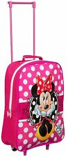 Kids Suitcase Disney Minnie Mouse Trolley 38cm New
