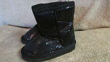 Girls Winter Sequin Snow/Rain Boots - Size Med 7/8 - Black - New! (CA 11)