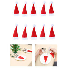 Christmas Decorative 10PCS Tableware Fork Set Christmas Hat Storage Tool Red PM