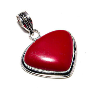 """Red Coral Gemstone Handmade 925 Sterling Silver Jewelry Pendant 1.6"""""""