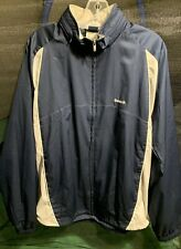 Vintage Reebok Blue And White Lined Softshell Jacket With Hood Zips Into Collar