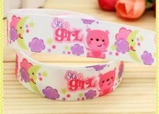 "BTY 7/8"" It's A Girl Baby Shower Grosgrain Ribbon Hair Bows Lisa"
