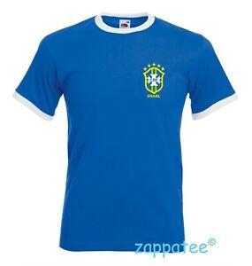 Retro BRASIL Blue Ringer T Shirt. Brazilian Soccer Football Tee. BRAZIL