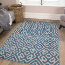 Sea Blue Teal Soft Textured Lustre Living Room Area Rugs Indoor Outdoor Washable