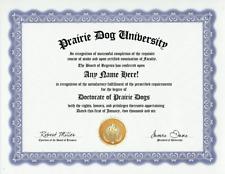 Prairie Dog Lover Diploma Certificate -Custom Gag Gift Customized Present Award