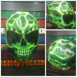 Truefire Skull in Green Custom Painted Airbrushed Motorcycle Helmet