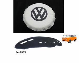 VW BUS KOMBI BAYWINDOW WHITE SPARE WHEEL & DASH COVER KIT 2PCS FREE DELIVERY