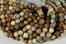 "NATURAL AUSTRALIAN YELLOW MOSS OPAL 8MM ROUND BEADS 15.5"" STRAND"