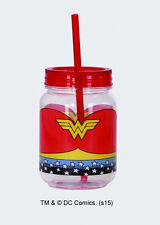 DC Comics Wonder Woman WW Chest Logo Acrylic 12 ounce Mini Mason Jar, NEW UNUSED
