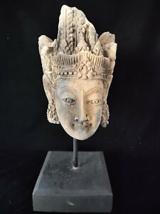 Balinese Warrior Prince Head  terra-cotta mounted on Custom made display Stand