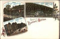 Gruss Aus Baden Baden Germany Multi-View c1900 Postcard