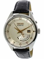 Seiko Men's SRN049 Black Calf Skin Kinetic Dress Watch