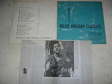 "10"" BILLIE HOLIDAY CLASSICS Jazztone Society Frankfurt FOC LP"