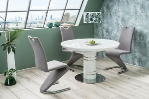 """""""STRATOS"""" White High Gloss & White Glass Top Round (Oval) Extending Dining Table"""
