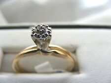 Engagement and wedding, diamond cluster on 10 k solid yellow gold bands