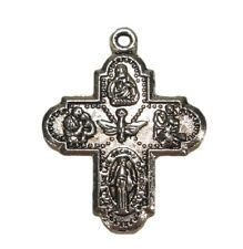 Lot of 20 Antique Silver Catholic Saints Four Way Cross Pendants Rosary Parts